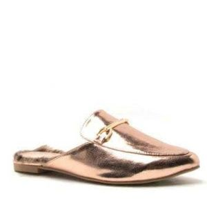 QUPID Rose Gold Fur Lined Loafer Mules NEW NIB